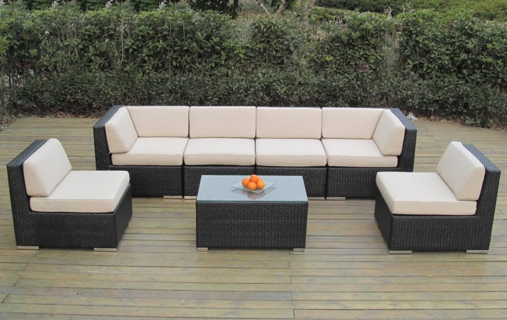 Genuine Ohana Outdoor Patio Wicker Furniture 7pc Sofa Set
