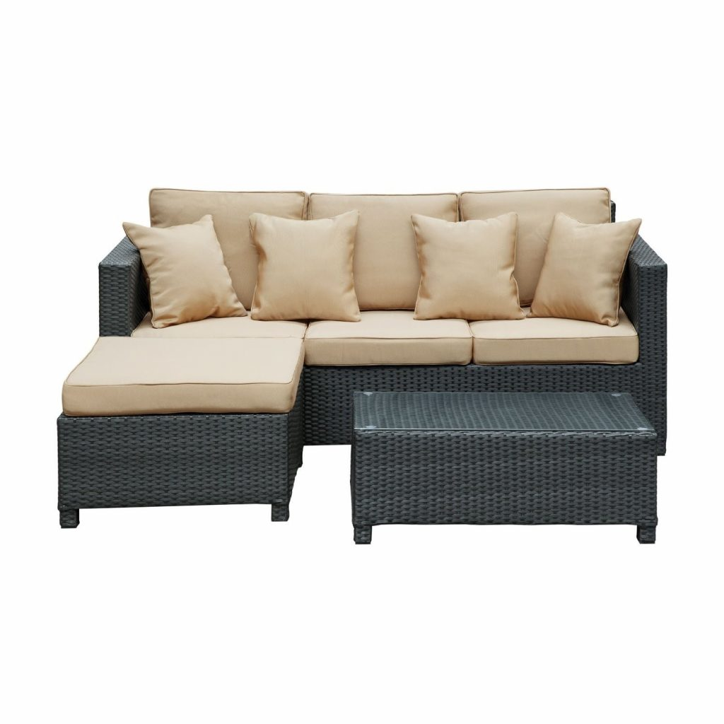 LexMod Urban Dimension Outdoor Wicker Patio Sectional Sofa Set