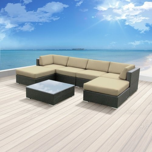 Luxxella Patio Mallina Outdoor Wicker Furniture 7-Piece All Weather Couch Sofa Set