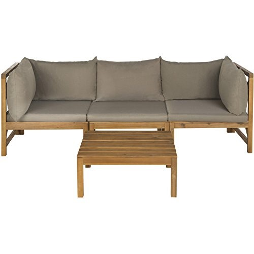 Safavieh Outdoor Collection Lynwood Outdoor Sectional Sofa, Teak Brown and Taupe